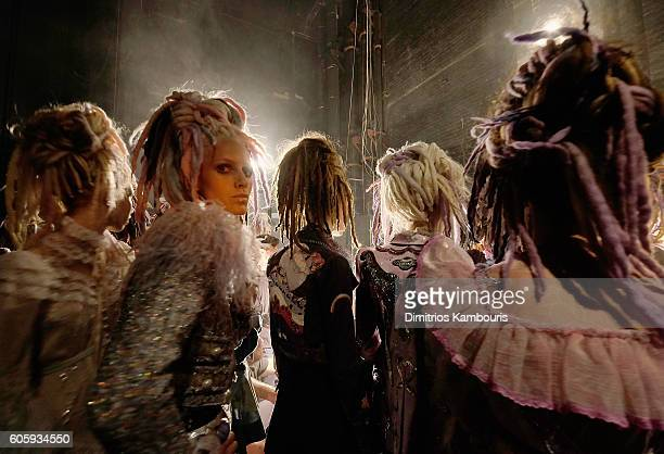 Models backstage at the Marc Jacobs Spring 2017 fashion show during New York Fashion Week at the Hammerstein Ballroom on September 15 2016 in New...