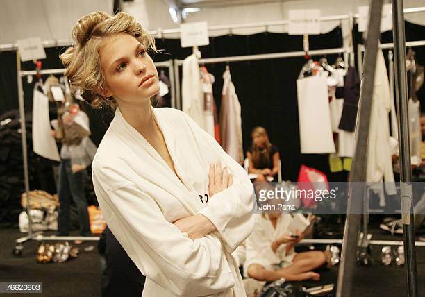 Models backstage at the Rosa Cha 2008 Fashion Show at the Tent in Bryant Park during the MercedesBenz Fashion Week Spring 2008 on September 8 2007 in...