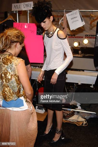 Models backstage at the Sass and Bide Fashion Show at Studio Noir Bryant Park on February 7 2004 in New York City