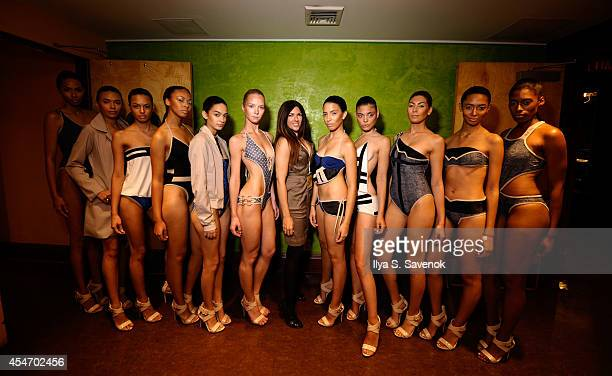 Models backstage at the Swimwear Collective during MercedesBenz Fashion Week Spring 2015 at Helen Mills Event Space on September 5 2014 in New York...