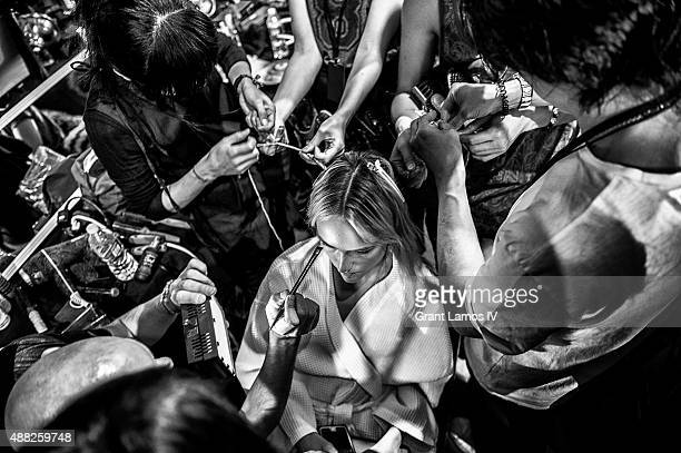 Models backstage at the Tommy Hilfiger Women's show during Spring 2016 New York Fashion Week at Pier 36 on September 14 2015 in New York City