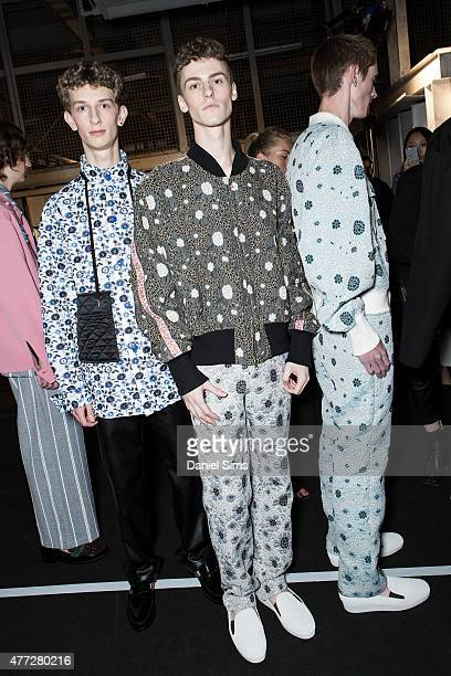 Models backstage at the Xander Zhou show during The London Collections Men SS16 at The Old Sorting Office on June 15 2015 in London England