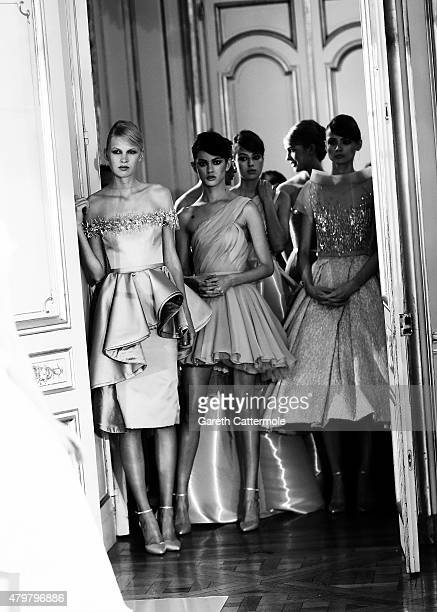 Models backstage before for the Rami Al Ali presentation as part of Paris Fashion Week Haute Couture Fall/Winter 2015/2016 at La Maison Champs...