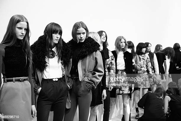 Models backstage before the Carven show as part of Paris Fashion Week Womenswear Fall/Winter 2015/2016 on March 5 2015 in Paris France