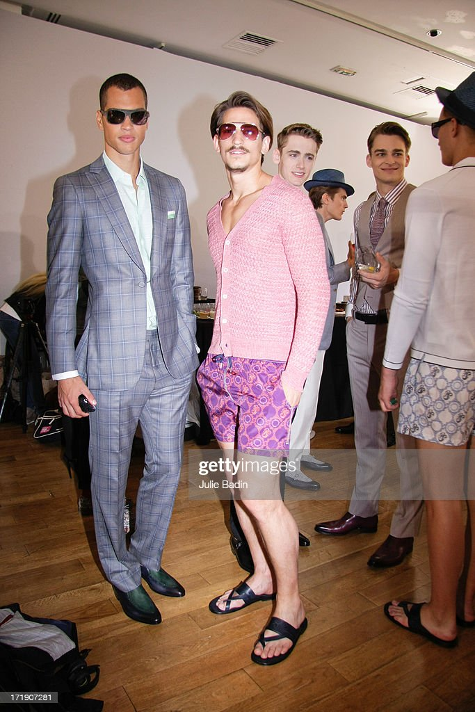 Models backstage before the Francesco Smalto Menswear Spring/Summer 2014 Show As Part Of The Paris Fashion Week on June 29, 2013 in Paris, France.