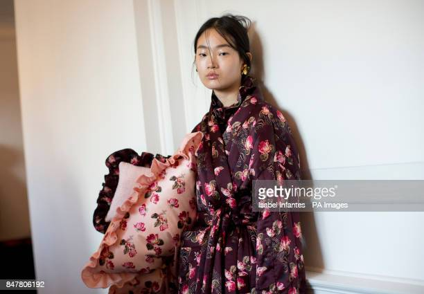 Models backstage during the Mother of Pearl London Fashion Week SS18 show held at The Tapestry Room in The Ned LondonPRESS ASSOCIATION Picture date...
