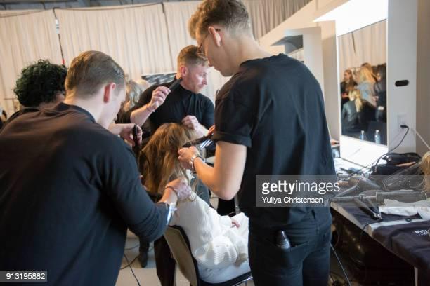 Models backstage for Designers Remix show the Copenhagen Fashion Week Autumn/Winter 18 on February 1 2018 in Copenhagen Denmark