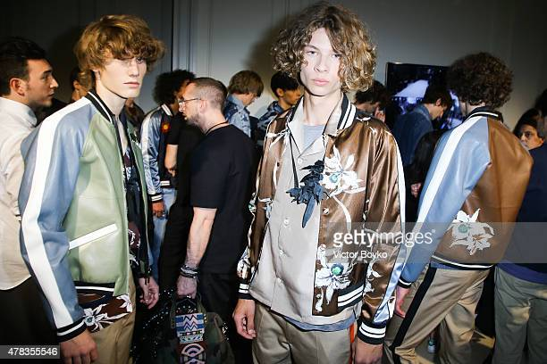 Models backstage in a lineup during the Valentino Menswear Spring/Summer 2016 show as part of Paris Fashion Week on June 24 2015 in Paris France