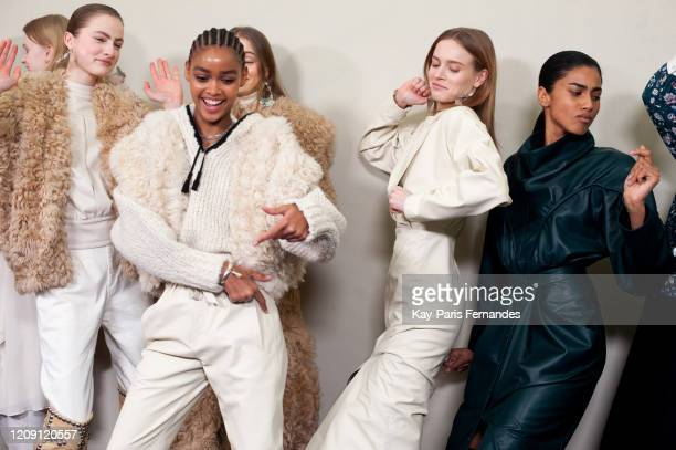 Models backstage in firstlooks before the Isabel Marant Womenswear Fall/Winter 2020/2021 show as part of Paris Fashion Week on February 27, 2020 in...
