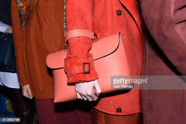 Models bag details are seen backstage ahead of the Trussardi show during Milan Fashion Week Fall/Winter 2016/17 on February 28 2016 in Milan Italy