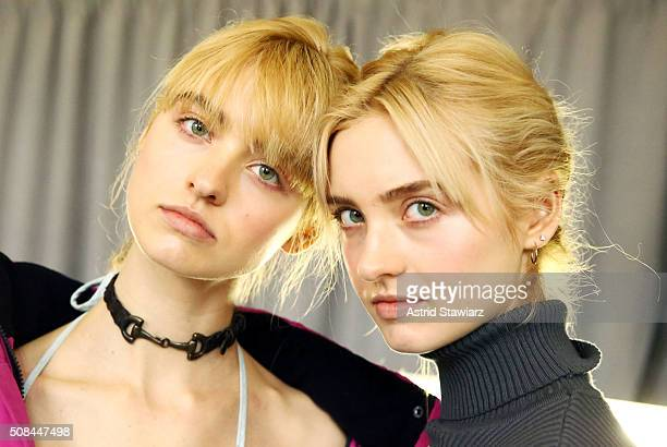 Models Baylee Soles and Kelsey Soles pose backstage at the Timo Weiland show during New York Fashion Week Men's Fall/Winter 2016 at Skylight at...