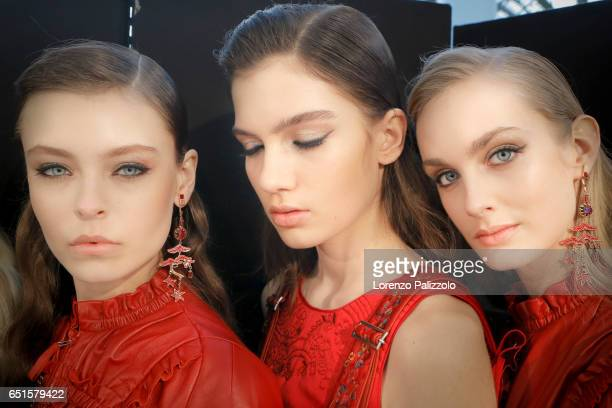 Models beauty backstage detail are seen backstage before the Shiatzy Chen show as part of the Paris Fashion Week Womenswear Fall/Winter 2017/2018 on...