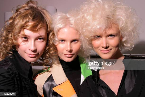 Models before the Custo Barcelona Fall 2004 show during MercedesBenz Fall 2004 Fashion Week at Smashbox Studios Custo Barcelona Backstage Hosted by...