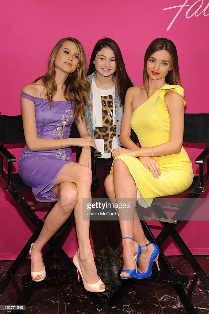 Models Behati Prinsloo and Miranda Kerr attend Victoria's Secret Angels Launch Fabulous Collection at Victoria's Secret Herald Square on February 26, 2013 in New York City.