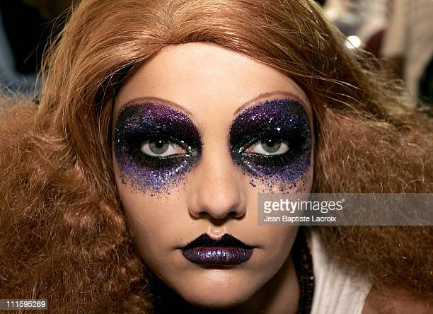 Models being made up during Paris Fashion Week Ready to Wear Spring/Summer 2005 Dior Backstage at Espace Ephemere in Paris France