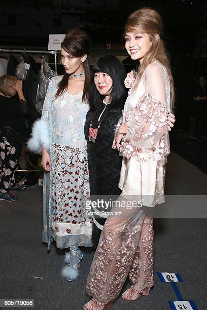 Models Bella and Gigi Hadid pose with designer Anna Sui backstage at the Anna Sui fashion show during New York Fashion Week The Shows at The Arc...