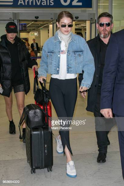 Models Bella Hadid and Gigi Hadid are seen at Orly airport on May 2 2018 in Paris France