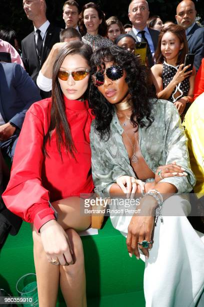 Models Bella Hadid and Naomi Campbell attend the Louis Vuitton Menswear Spring/Summer 2019 show as part of Paris Fashion Week on June 21 2018 in...