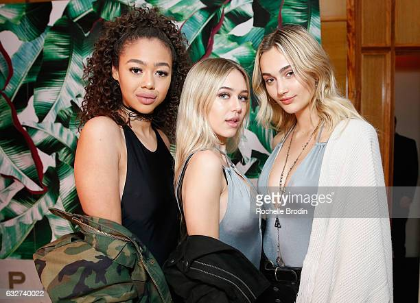 Models Bella Harris Delilah Belle Hamlin and Ally Johnson attend LA Hearts PacSun celebrate 2017 Spring Swimwear Collection at Delilah on January 25...