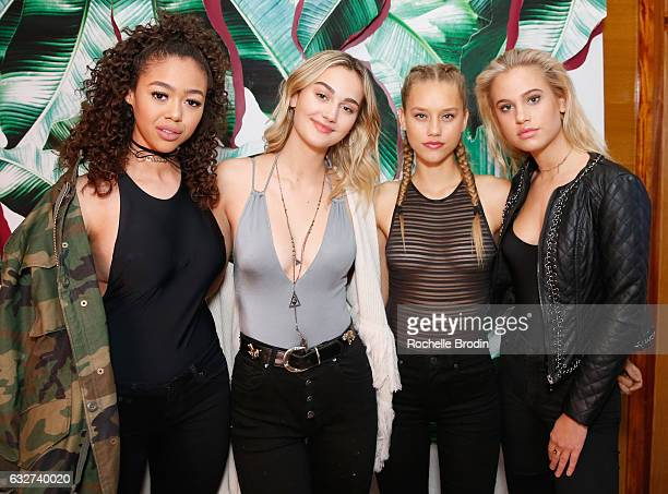 Models Bella Harris Meredith Mickelson and Ally Johnson attend LA Hearts PacSun celebrate 2017 Spring Swimwear Collection at Delilah on January 25...