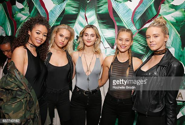 Models Bella Harris Meredith Mickelson Suede Brooks and Ally Johnson attend LA Hearts PacSun celebrate 2017 Spring Swimwear Collection at Delilah on...