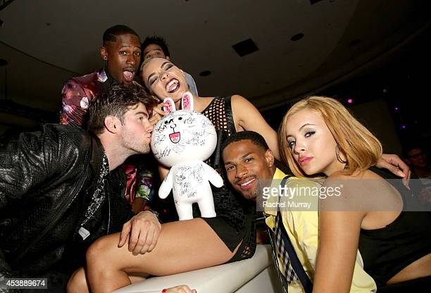Models Ben Schreen Kari Calhoun Denzel Wells and Mirjana Puhar attend America's Next Top Model Cycle 21 premiere party presented by NYLON and LINE at...