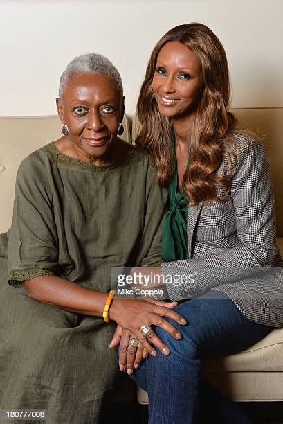 Models Bethann Hardison and Iman pose for a picture on September 12 2013 at IMAN Cosmetics in New York City Hardison is the head of the Diversity...