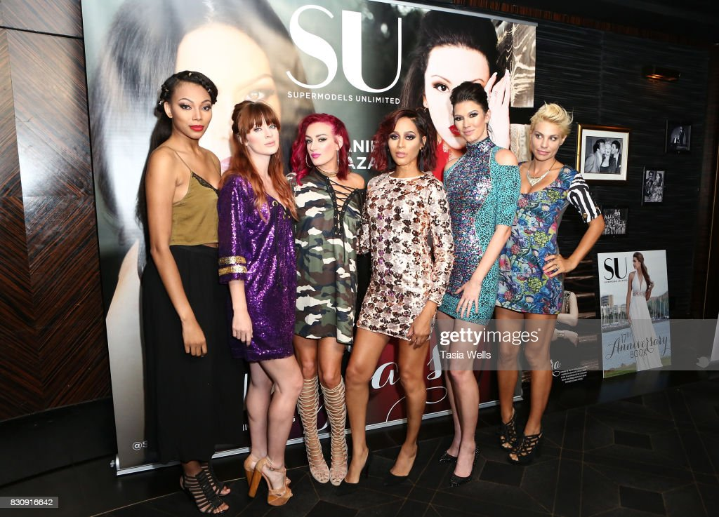 Models Bianca Golden, Laura Kirkpatrick, Kelly Dempsey, Isis King, Brittany Brower and Lisa Marie D'Amato Friedman at SU Magazine's 17th Anniversary Celebration on August 12, 2017 in Hollywood, California.