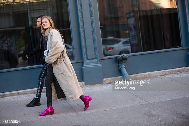 Models Binx Walton and Hanne Gaby Odiele after Jason Wu on the Streets of Manhattan on February 13 2015 in New York City Hanne wears Saint Laurent...