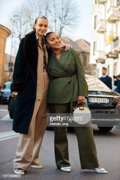 Models Binx Walton and Paloma Elsesser after the Salvatore Ferragamo show during Milan Fashion Week Fall/Winter 2020-2021 on February 22, 2020 in...