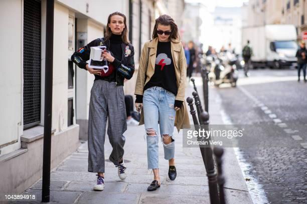 Models Birgit Kos and Luna Bijl seen during Paris Fashion Week Womenswear Spring/Summer 2019 on September 29 2018 in Paris France