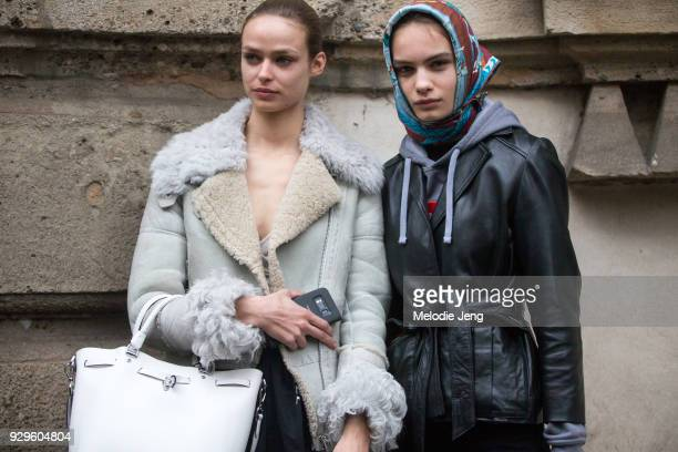 Models Birgit Kos and Nina Marker during Milan Fashion Week Fall/Winter 2018/19 on February 22 2018 in Milan Italy Birgit wears a shearling bomber...