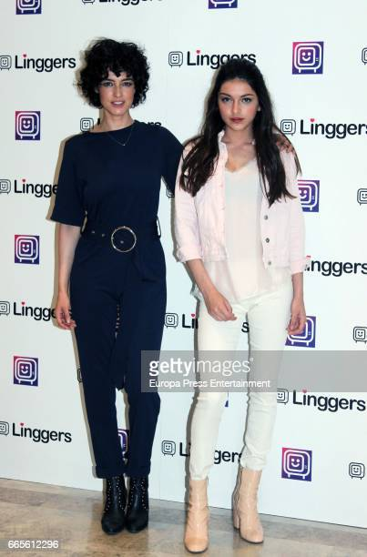 Models Blanca Romero and her daughter Lucia Rivera Romero present Linggers APP to link serieslovers on April 6 2017 in Madrid Spain