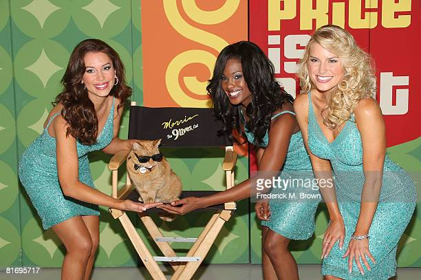 Models Brandi Sherwood Lanisha Cole and Rachel Reynolds pose with Morris the Cat on the set of 'The Price is Right' to kick off a video contest that...