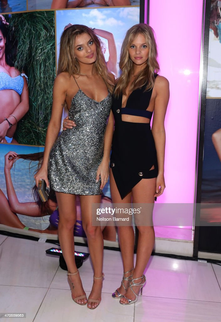 Models Bregje Heinen and Marloes Horst attend Club SI Swimsuit at LIV Nightclub hosted by Sports Illustrated at Fontainebleau Miami on February 19, 2014 in Miami Beach, Florida.