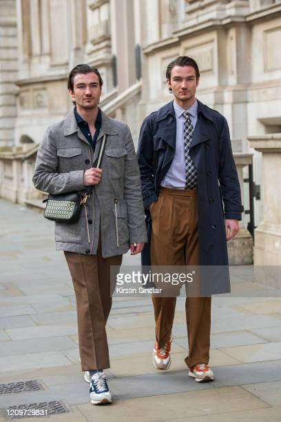 Models Brett Staniland and Scott Staniland wear all Daks during London Fashion Week February 2020 on February 18 2020 in London England