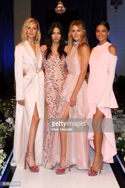 Models Bridget Malcolm Jessica Gomes Jesinta Franklin and Shanina Shaik pose following rehearsal ahead of the David Jones Spring Summer 2017...
