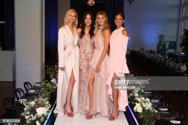 Models Bridget Malcolm Jessica Gomes Jesinta Franklin and Shanina Shaik pose following rehearsal ahead of the David Jones Spring Summer 2017...