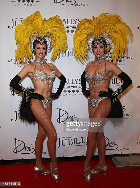 Models Brittany Guinane and Taryn Olivieri arrive at the 'Jubilee' show's grand reopening at Bally's Las Vegas on March 29 2014 in Las Vegas Nevada