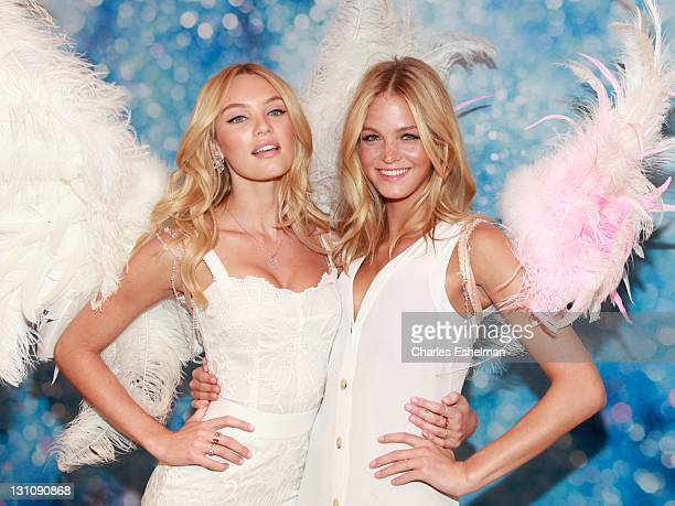 Models Candice Swanepoel and Erin Heatherton attend the Victoria's Secret launch of the Angel fragrance and the Dream Angels bra at Victoria's Secret...