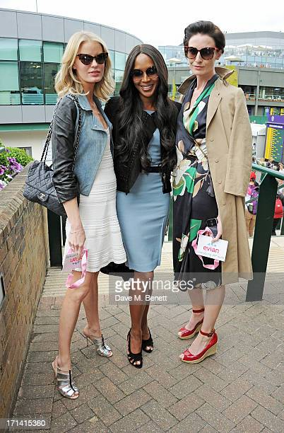 Models Caroline Winberg Naomi Campbell and Erin O'Connor attend the evian 'Live Young' Suite at Wimbledon on June 24 2013 in London England
