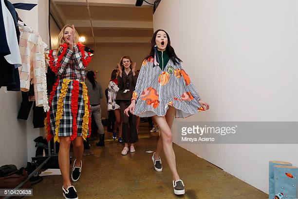 Models celebrate backstage after the Anna K fashion show during Fall 2016 MADE Fashion Week at Milk Studios on February 15 2016 in New York City