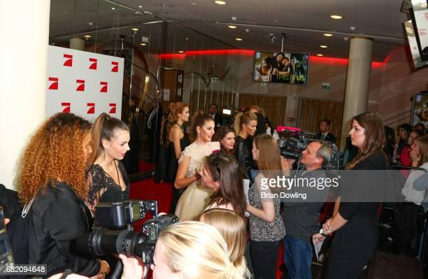 Models Celine Badman Carina Zavline and Serlina Hohmann Top 8 finalists from Germany's Next Top Model arrive at the premiere of the television show...