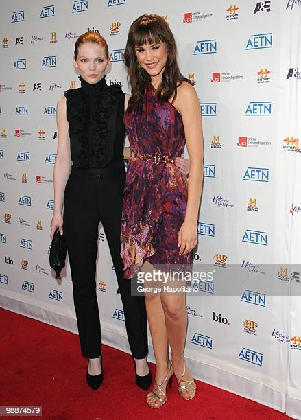 Models Cerri McQuillan and Kalyn Hemphill attends the 2010 A&E Upfront at the IAC Building on May 5, 2010 in New York City.