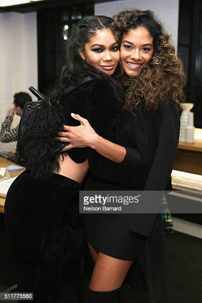 Models Chanel Iman and Heidy De la Rosa attend Samsung 837 Launch with Florence The Machine at Samsung 837 in Meatpacking District on February 22...