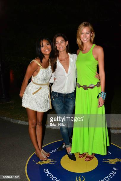 Models Chanel Iman, Lily Aldridge and Karlie Kloss attend Polo Ralph Lauren For Women during Mercedes-Benz Fashion Week Spring 2015 at Cherry Hill in...