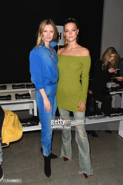 Models Charlott Cordes and Nina Agdal attend the John John front row during New York Fashion Week The Shows at Gallery I at Spring Studios on...