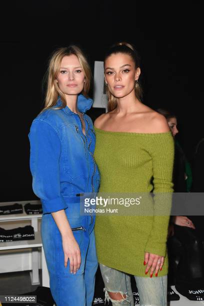 Models Charlott Cordes and Nina Agdal attend the John John front row during New York Fashion Week The Shows at Gallery I at Spring Studios on...
