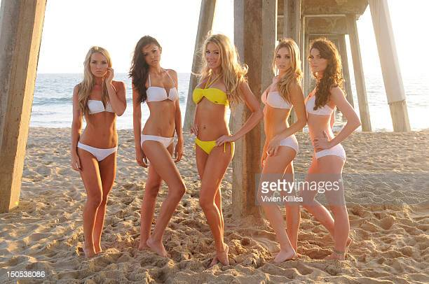 Models Chelsey Iacopucci Nikki Haroldson Stefanie Blase and Emily Ketzel pose for portraits wearing bikinis from Becker at Stefanie Blase From The...