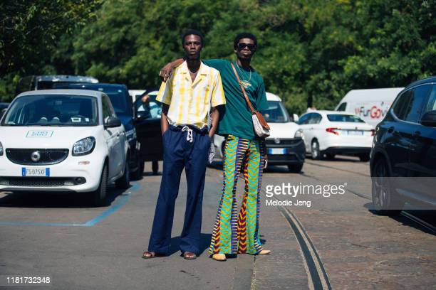 Models Cherif Douamba and Ottawa Kwami after the Fendi show during the Milan Men's Fashion Week Spring/Summer 2020 on June 17, 2019 in Milan, Italy....